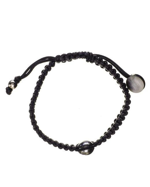 Black.co.uk | Mimas Single Tahitian Black Pearl And Macrame Bracelet | Lyst