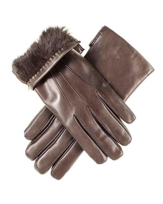 Black.co.uk - Multicolor Chocolate Brown Leather Gloves With Brown Rabbit Lining - Lyst
