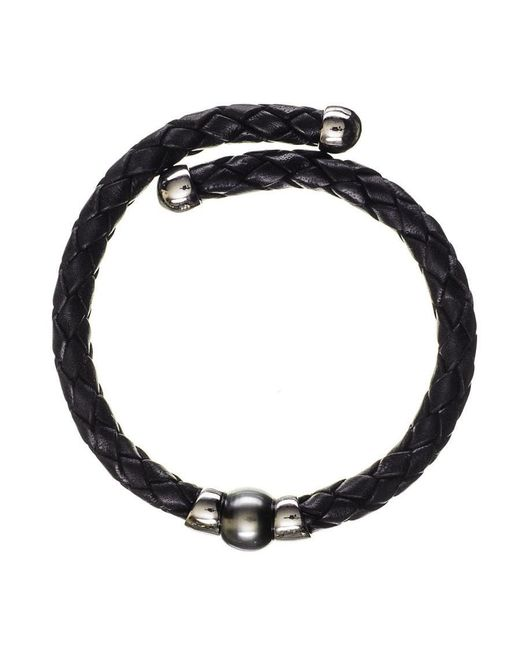 Black.co.uk | Oberon Tahitian Black Pearl Silver And Leather Bracelet | Lyst