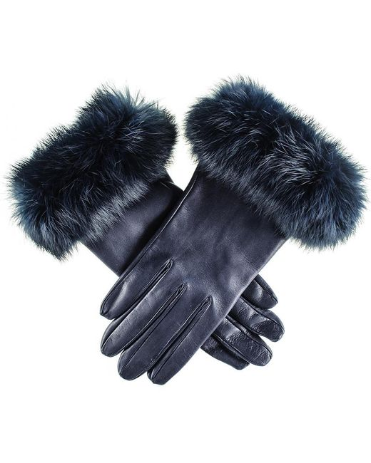 Black.co.uk - Blue Ladies Navy Leather Gloves With Rabbit Fur Cuff - Lyst