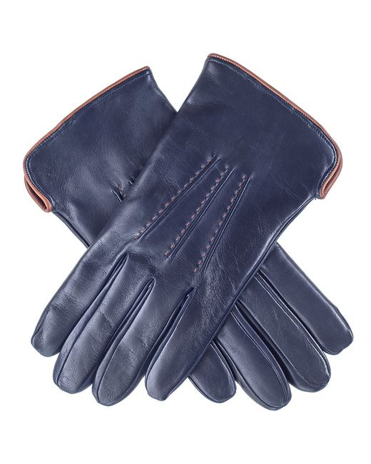 Black.co.uk | Blue Navy And Tan Leather Gloves - Cashmere Lined | Lyst