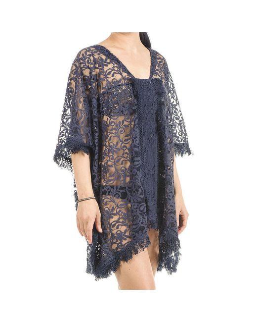 Black.co.uk - Blue Navy Cotton Lace Kaftan Top - Lyst