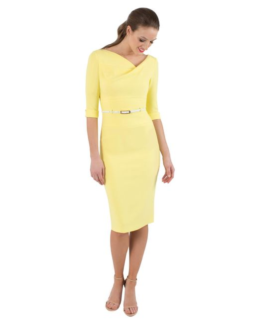 Black Halo - Yellow 3/4 Sleeve Jackie O Sheath - Lyst
