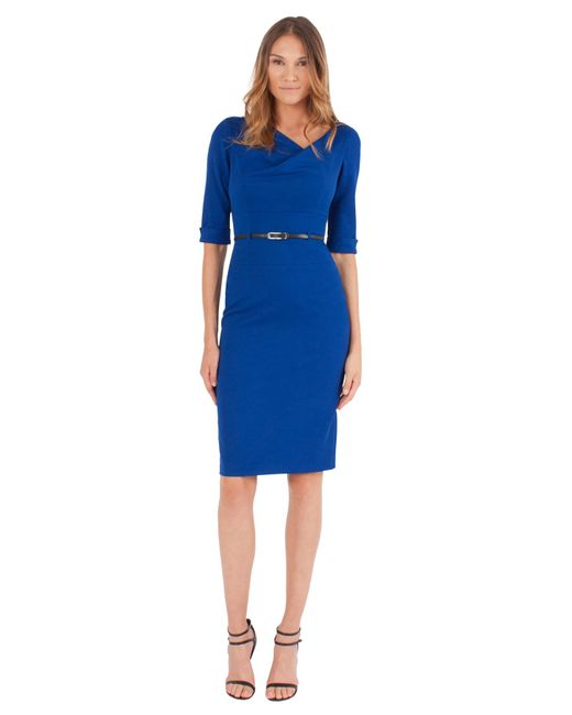 Black Halo - Blue 3/4 Slv Jackie O Dress - Lyst
