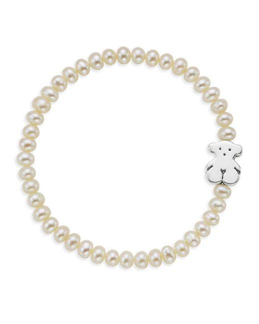 Tous - White Cultured Freshwater Pearl Bear Charm Bracelet - Lyst