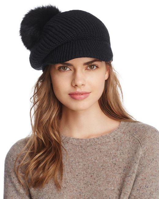 Echo - Black Fox Fur Pom Gibson Girl Hat - Lyst