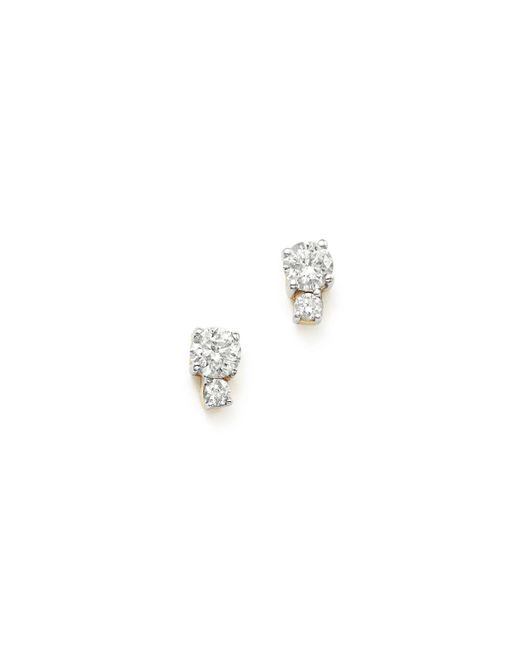 Adina Reyter | Metallic 14k Yellow Gold Amigos Tiny Double Diamond Stud Earrings | Lyst
