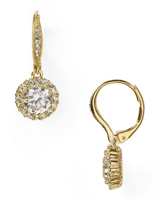 Nadri - Metallic Framed Round Cubic Zirconia Drop Earrings - Lyst