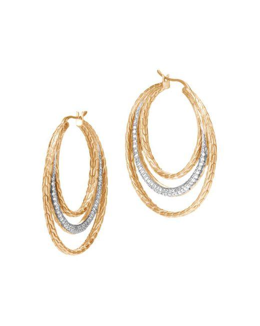 John Hardy - Metallic 18k Yellow Gold Classic Chain Pavé Diamond Medium Hoop Earrings - Lyst