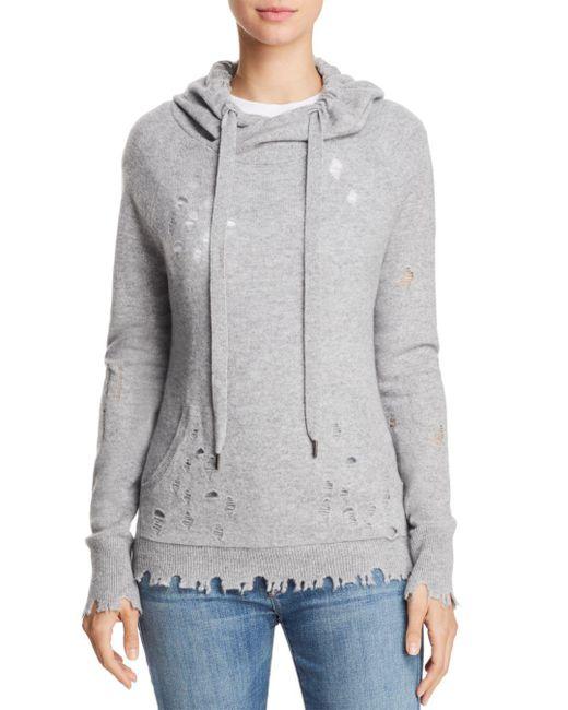 Aqua - Gray Cashmere Distressed Cashmere Hooded Sweatshirt - Lyst