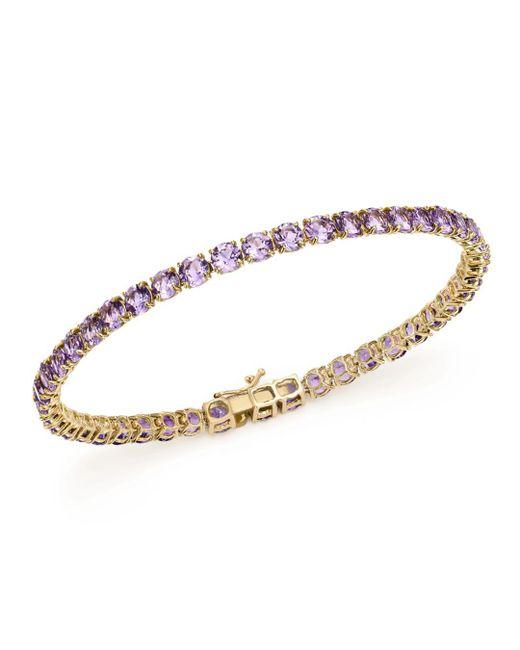 Bloomingdale's - Metallic Amethyst Tennis Bracelet In 14k Yellow Gold - Lyst