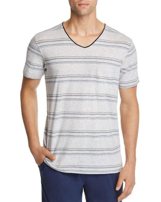 Daniel Buchler - Blue Lounge Striped Short-sleeve V-neck Tee for Men - Lyst