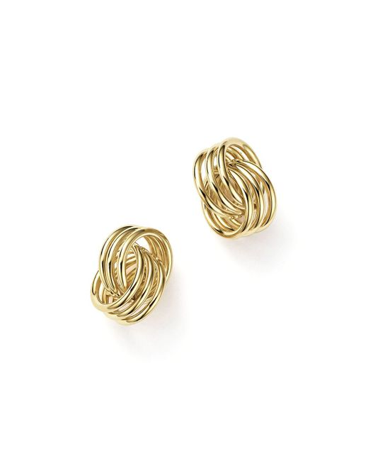 Bloomingdale's - Metallic 14k Yellow Gold Coil Knot Earrings - Lyst