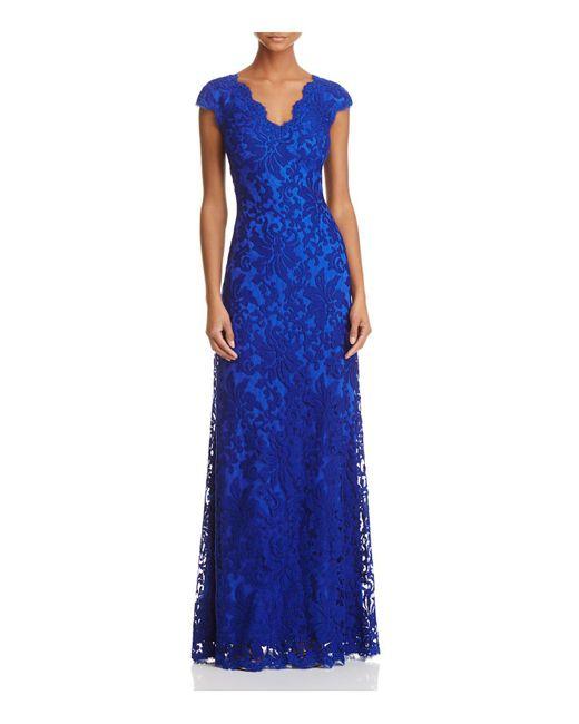 Tadashi Shoji | Blue Illusion Lace Gown | Lyst