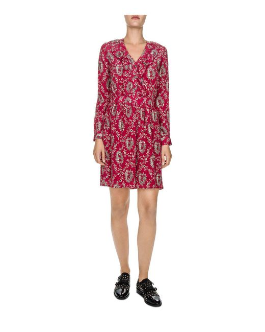 The Kooples | Red Rodeo Snake Printed Silk Dress | Lyst