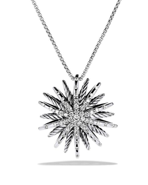 David Yurman - Metallic Starburst Medium Pendant With Diamonds On Chain - Lyst