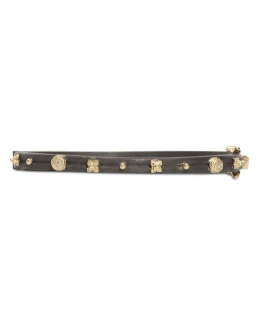 Armenta - Metallic 18k Yellow Gold And Blackened Sterling Silver Old World Huggie Bracelet - Lyst