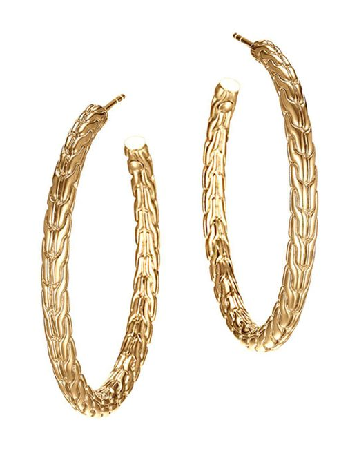 John Hardy - Metallic Classic Chain 18k Yellow Gold Medium Hoop Earrings - Lyst