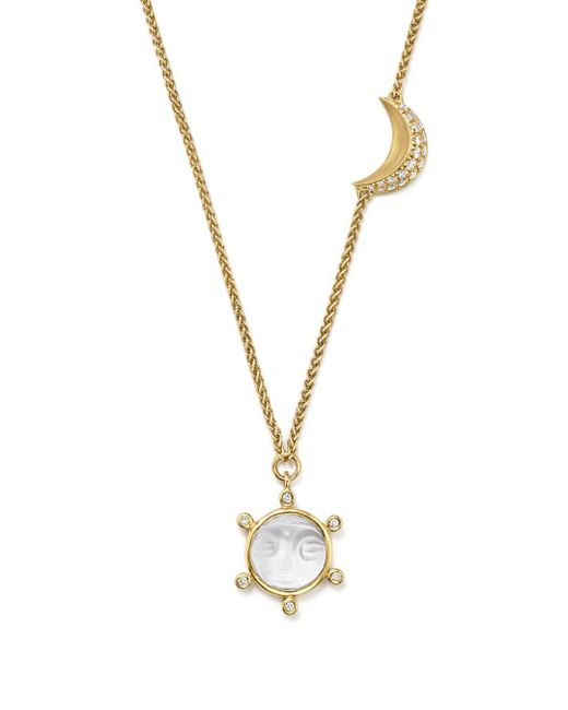 Temple St. Clair - Metallic 18k Yellow Gold Celestial Crystal Charm Necklace With Diamonds - Lyst