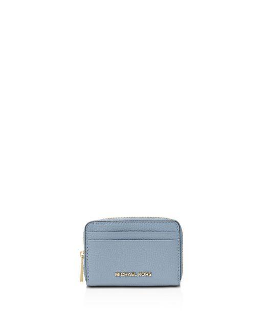 MICHAEL Michael Kors - Blue Zip Around Leather Card Case - Lyst