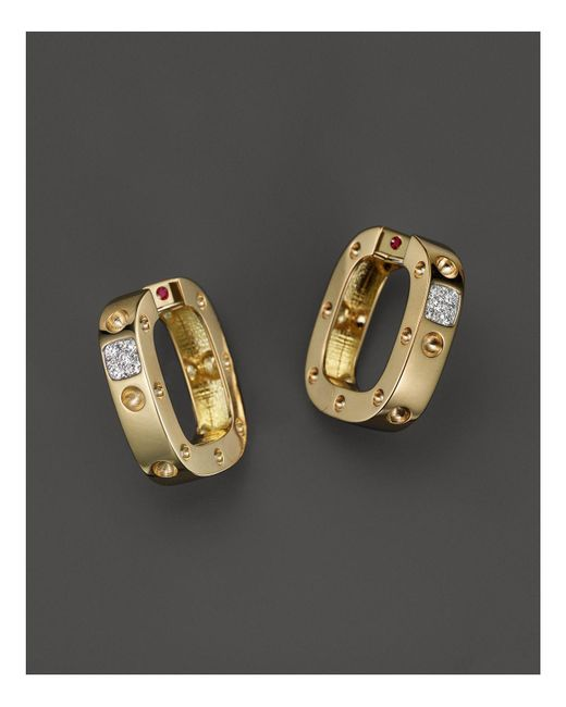 Roberto Coin - Metallic 18k Yellow And White Gold Pois Moi Single Hoop Earrings With Diamonds - Lyst