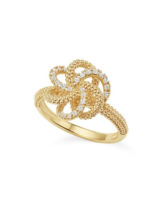 Lagos - Metallic 18k Yellow Gold Love Knot Ring With Diamonds - Lyst