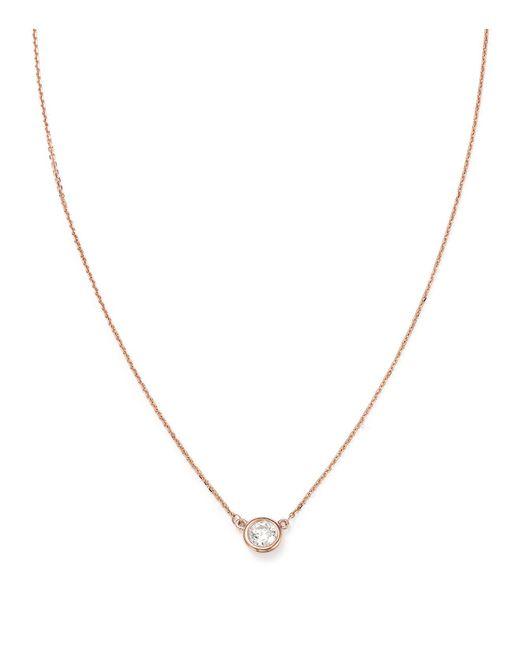 Bloomingdale's - Metallic Diamond Bezel Set Pendant Necklace In 14k Rose Gold, .40 Ct. T.w. - Lyst