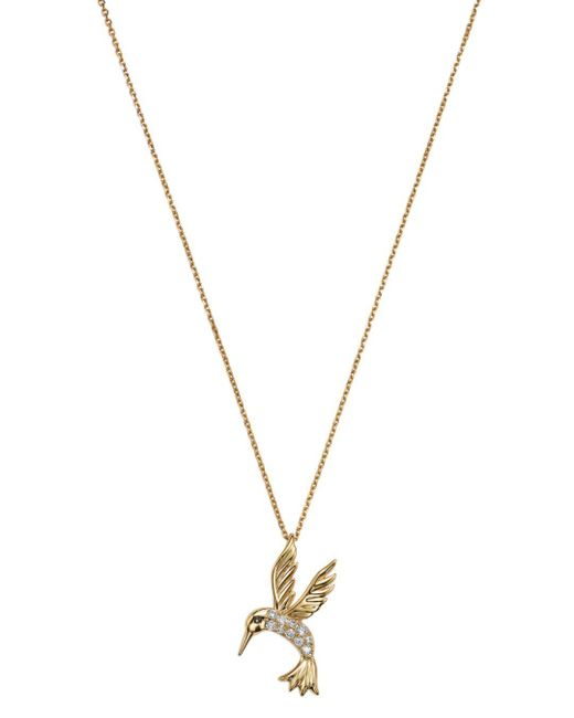 Bloomingdale's - Metallic Diamond Hummingbird Pendant Necklace In 14k Yellow Gold, .09 Ct. T.w. - Lyst