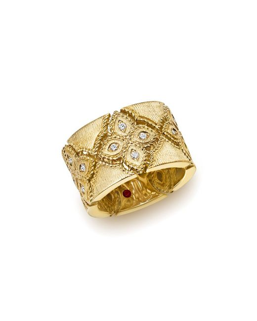 Roberto Coin - Metallic 18k Yellow Gold Venetian Princess Diamond Ring - Lyst