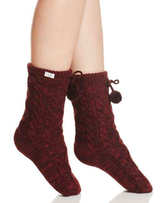 Ugg - Red Pom Pom Fleece Socks - Lyst