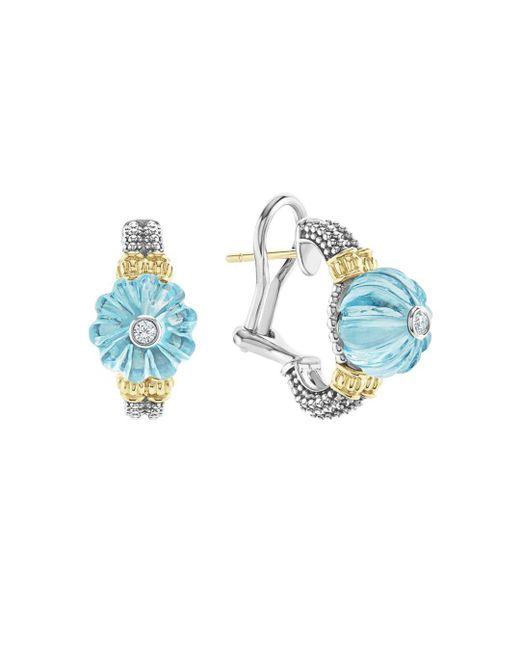 Lagos - 18k Gold & Sterling Silver Caviar Forever Diamond & Sky Blue Topaz Melon Bead Half Hoop Earrings - Lyst