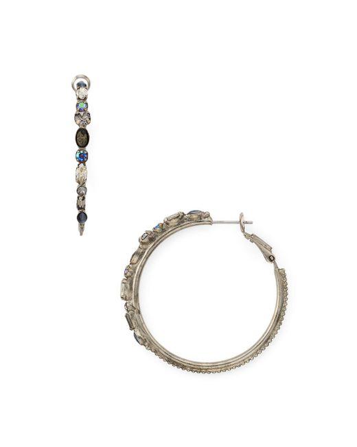 Sorrelli | Metallic Crystal Embellished Hoop Earrings | Lyst