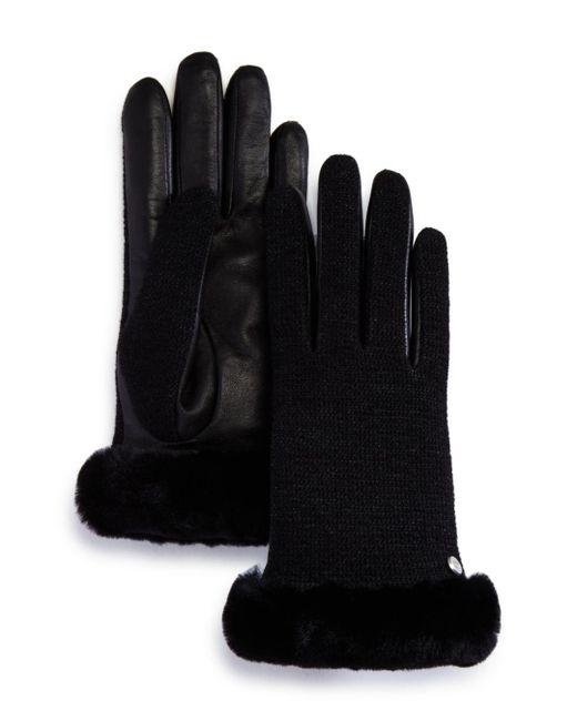 Ugg - Black Shorty Shearling-cuff Tech Gloves - Lyst