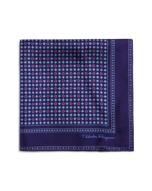 Ferragamo | Blue Floral Gancini Pocket Square for Men | Lyst