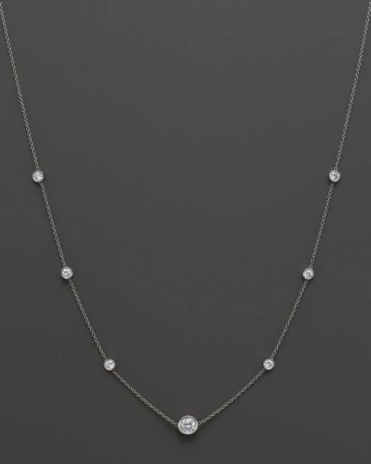 Bloomingdale's - Diamond Station Necklace In 18k White Gold, 1.50 Ct. T.w. - Lyst