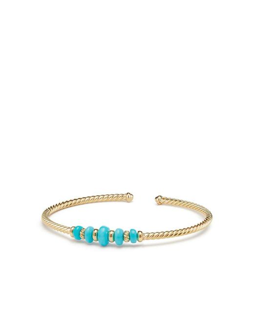 David Yurman - Multicolor Rio Rondelle Cabled Cuff Bracelet With Turquoise In 18k Gold - Lyst