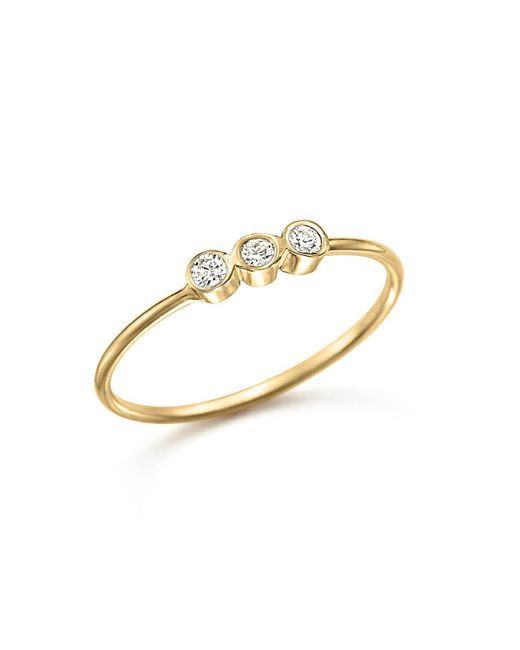 Zoe Chicco - Metallic 14k Yellow Gold And Diamond Bezel-set Ring - Lyst