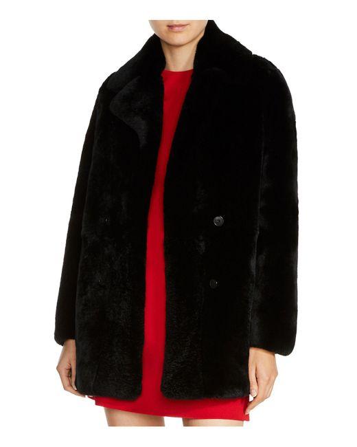 Maje - Black Gati Fur Coat - Lyst