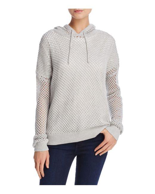 Aqua | Gray Honeycomb Hooded Sweater | Lyst