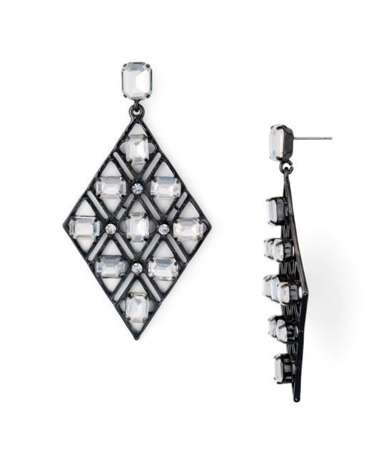 Aqua - Metallic Multicolor Lattice Drop Earrings - Lyst