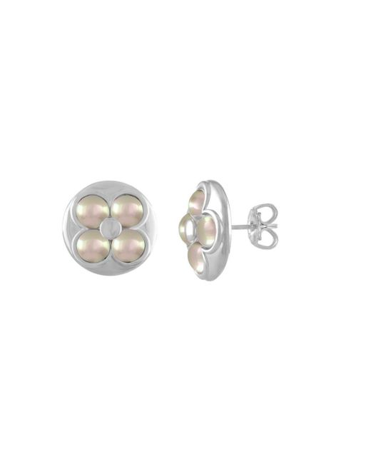 Majorica - White Luck Circle Stud Earrings - Lyst
