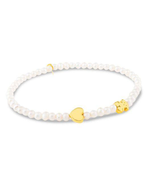 Tous - Metallic Cultured Freshwater Pearl Bear & Heart Charm Stretch Bracelet - Lyst