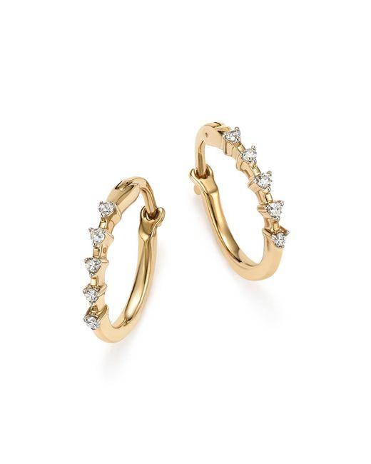 Adina Reyter | Metallic 14k Yellow Gold 5-diamond Huggie Hoop Earrings | Lyst