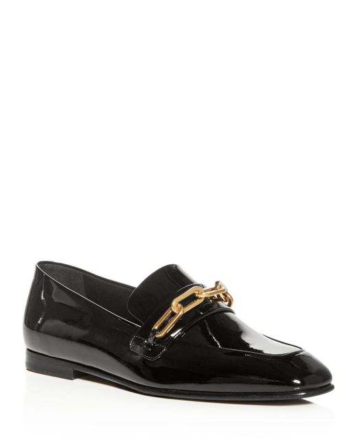 Burberry - Black Women's Chillcot Patent Leather Apron Toe Loafers - Lyst