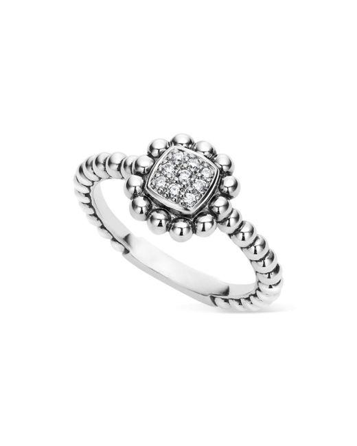 Lagos - Metallic Sterling Silver Caviar Spark Diamond Square Ring - Lyst
