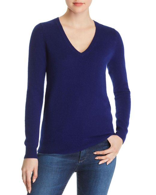 C By Bloomingdale's - Blue V-neck Cashmere Sweater - Lyst