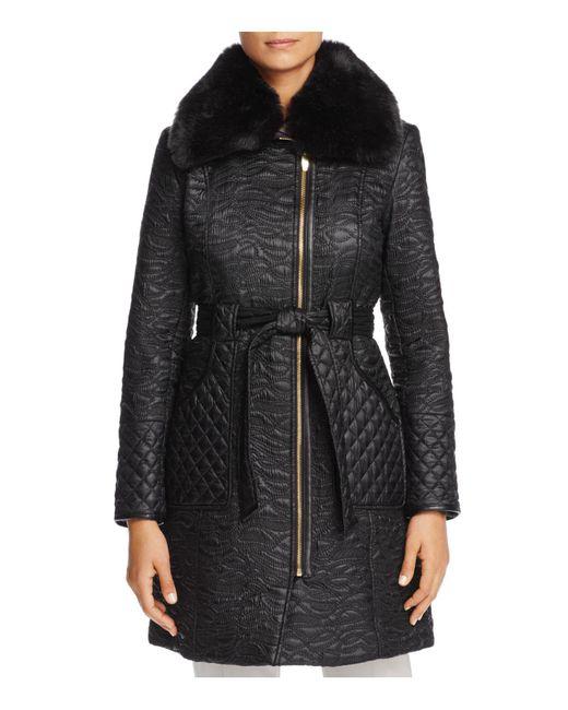 Via Spiga | Black Faux Fur Trim Belted & Quilted Coat | Lyst