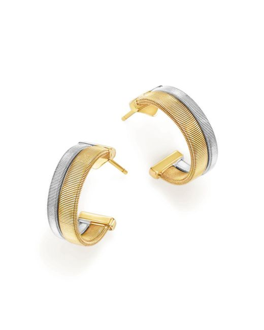 Marco Bicego - Metallic 18k Yellow And White Gold Masai Two Row Hoop Earrings - Lyst
