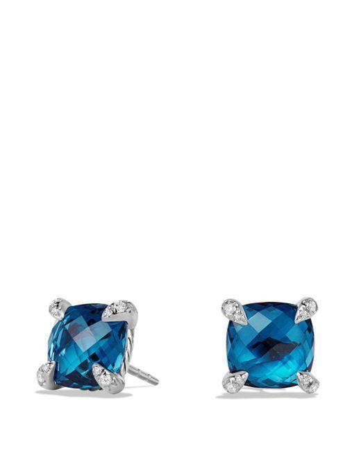 David Yurman - Metallic Châtelaine Earrings With Hampton Blue Topaz And Diamonds - Lyst