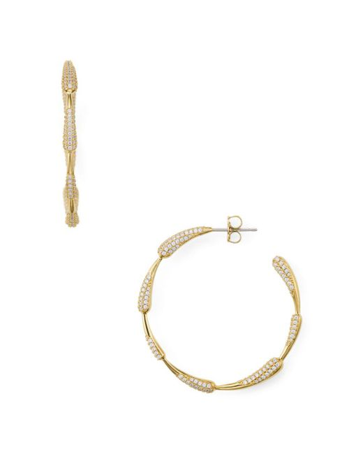 Nadri - Metallic Dappled Drop Hoop Earrings - Lyst